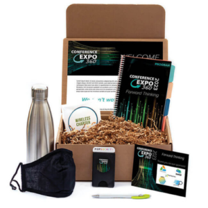 Image of a box with several swag items including a water bottle and face mask