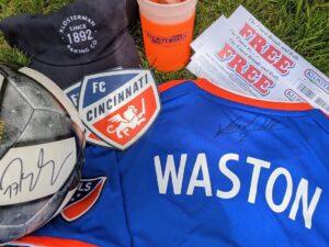 assortment of FC Cincinnati merchandise
