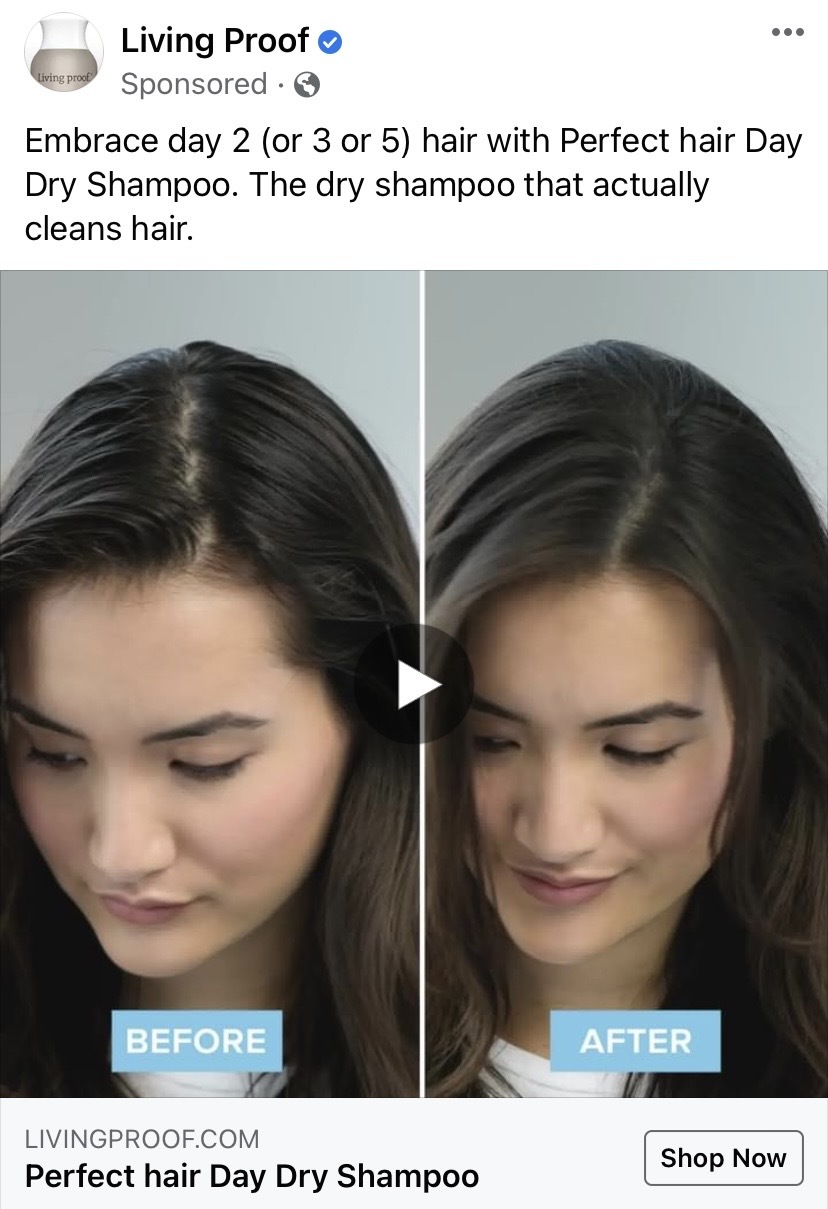 Screenshot of Facebook Ad from Living Proof for dry shampoo