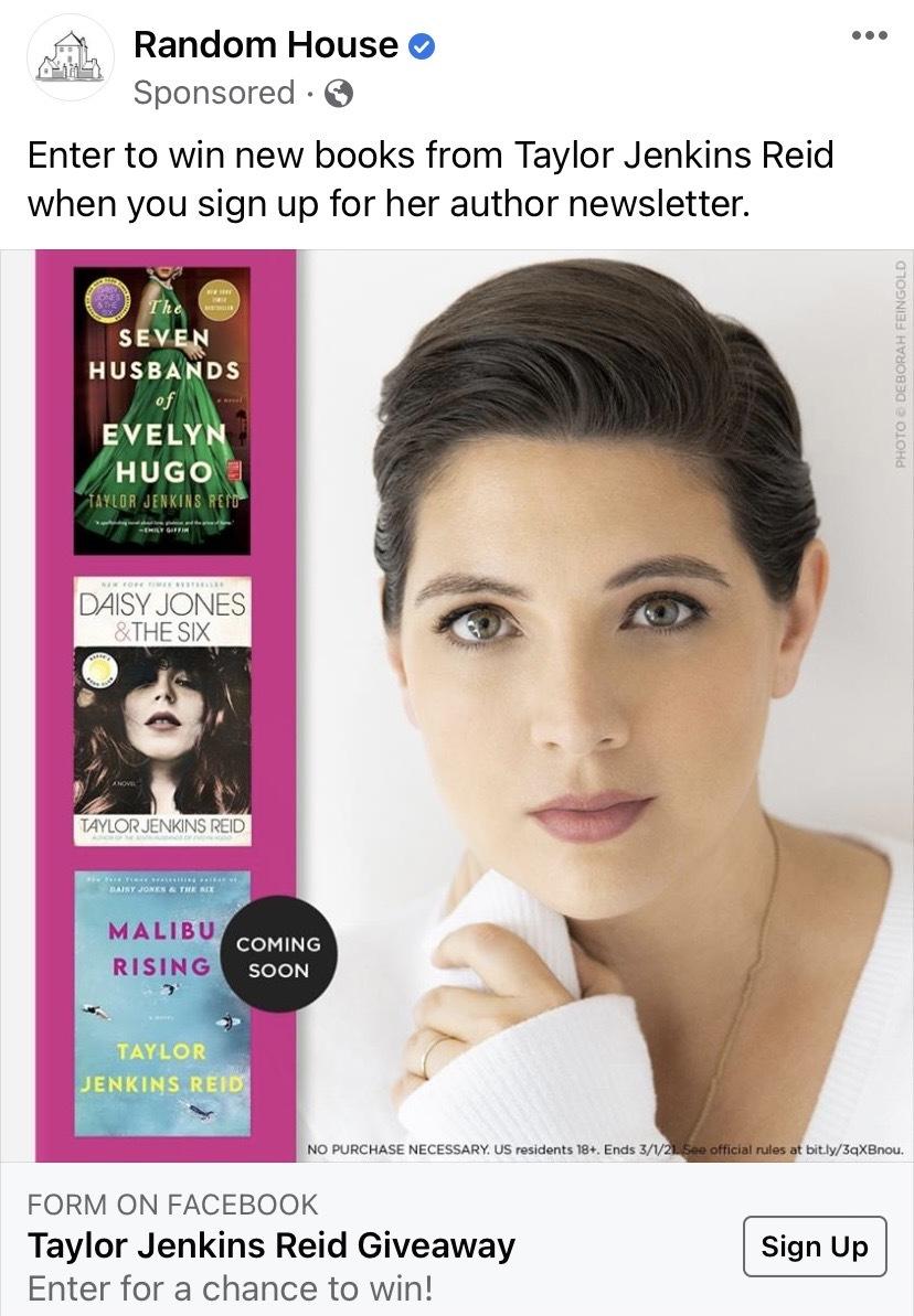 Screenshot of Facebook Ad from Random House