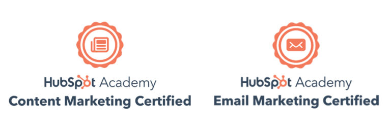 Orange Hubspot Content Marketing and Email Marketing Certification Badges with Newspaper and Envelope Icons