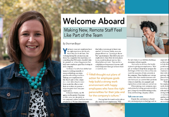 """Professional headshot of woman outside with PRSA magazine titled """"Welcome Aboard"""" aligned right accompanied by an image of a woman wearing a headset waving at a latop screen for an online meeting"""