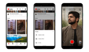 Three phones displaying YouTube Shorts feature