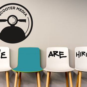 scooter media we are hiring, white chairs, teal chair