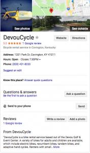 Screenshot of a Google Reviews Listing