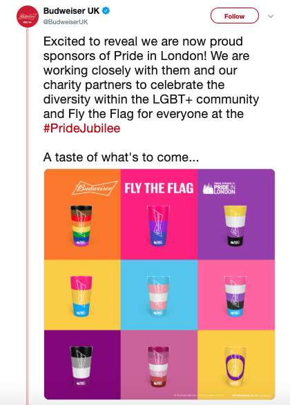 Budweiser UK Pride Month Twitter Post