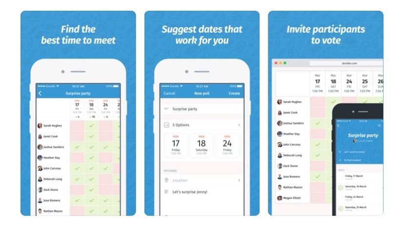 White smart phone against a blue background outlining features of Doodle online scheduling tool