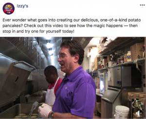 Facebook post with behind-the-scenes restaurant kitchen image with staff making potato pancakes