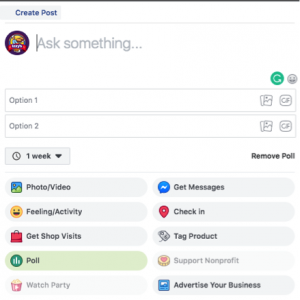 Screenshot selecting Facebook poll function as a posting option