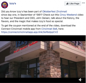 Screenshot of restaurant social media video with image showcasing location exterior
