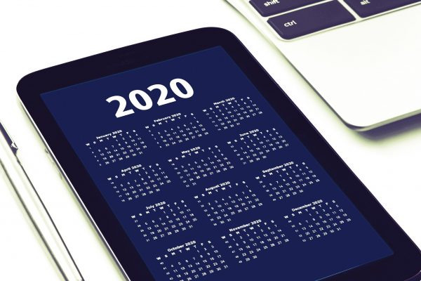 2020 digital calendar on a smart tablet