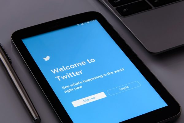 Welcome to Twitter login screen on a smart tablet