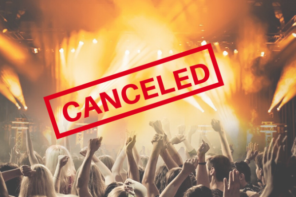 Photo of concert with the word Canceled over it.