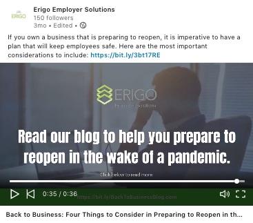 Erigo LinkedIn Video Example