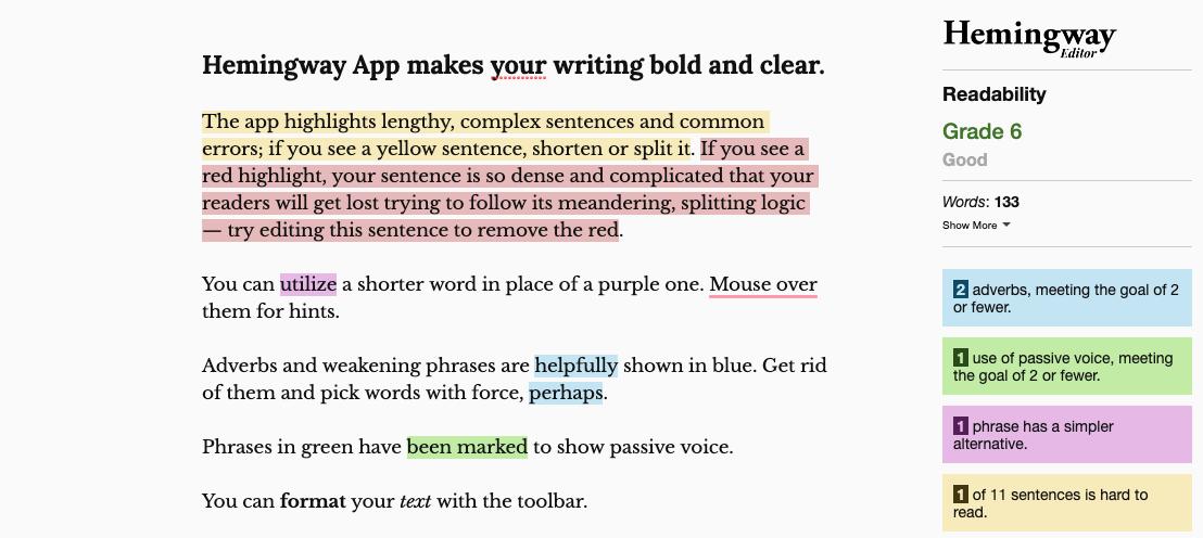 Hemingway Editor Desktop Screenshot