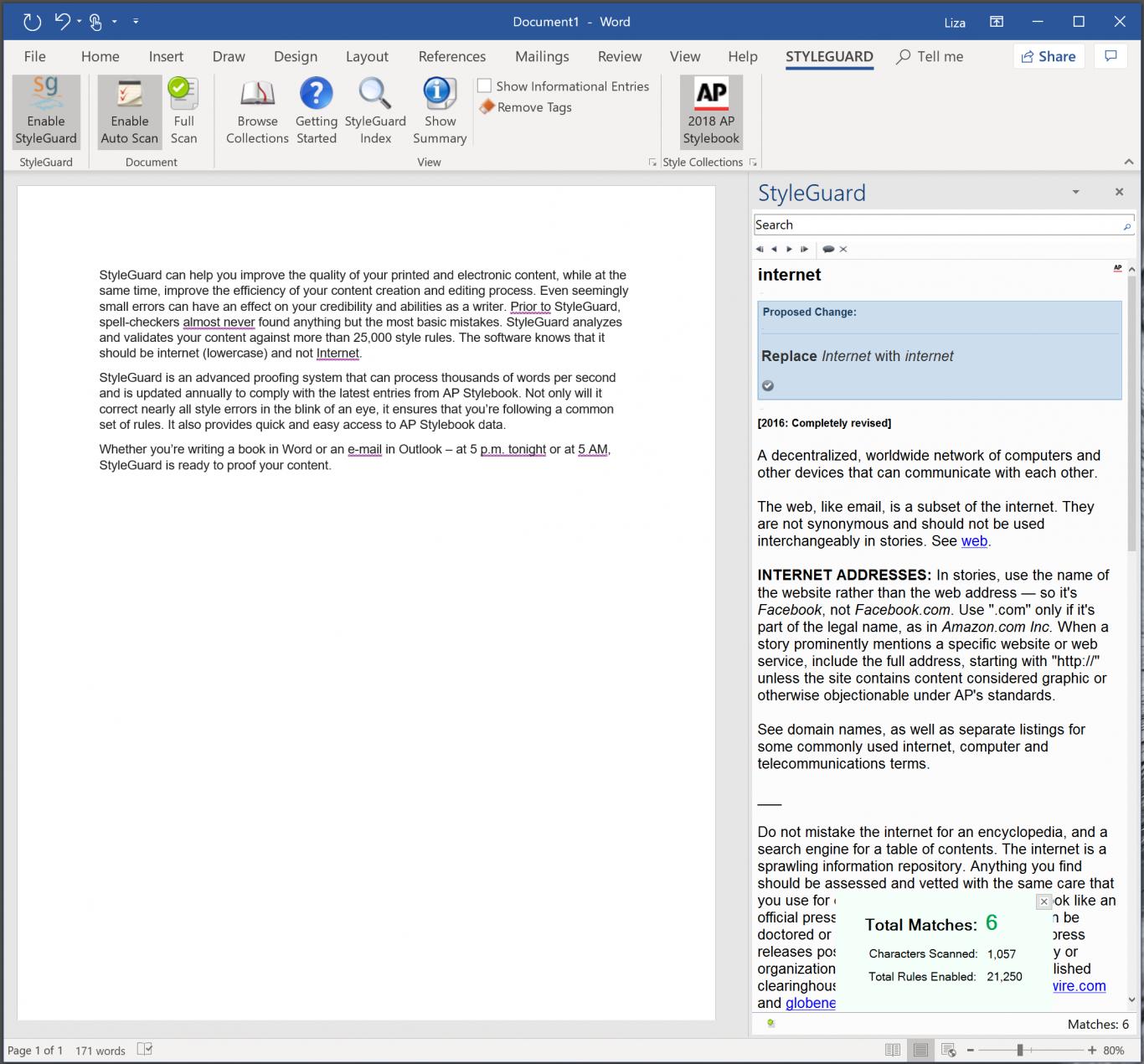 Screenshot of Styleguard editor