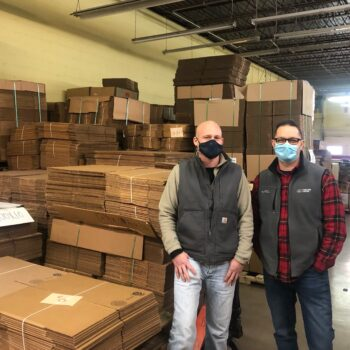 Photo of Matt Mauser and Marty Boyer with 3D corrugated, a box and packaging supply company