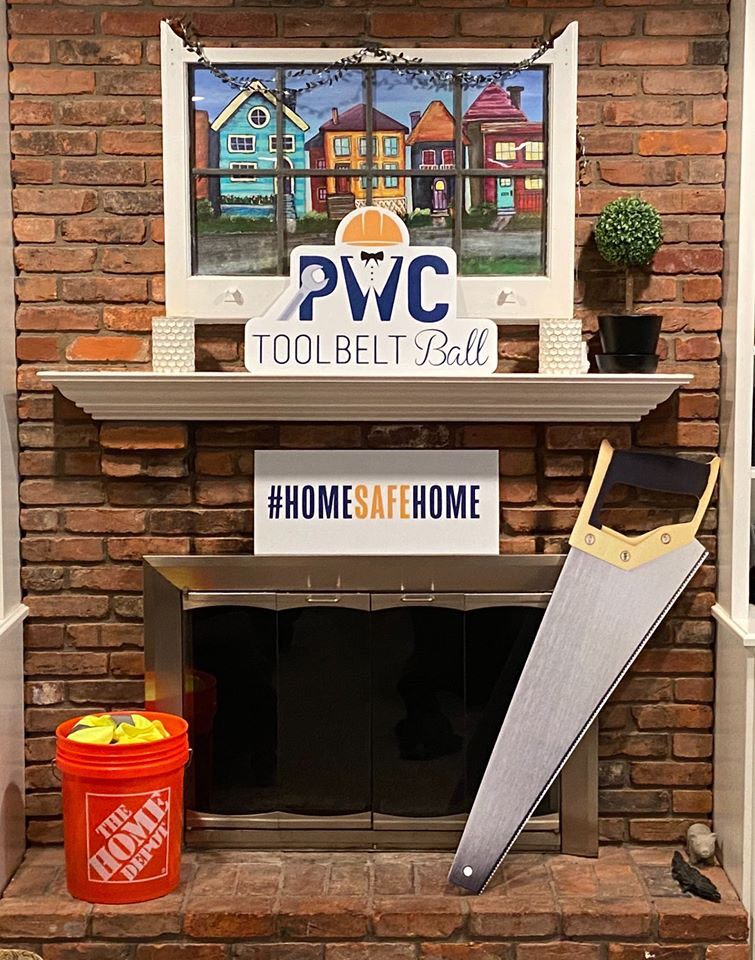 Fireplace with tools displayed around it