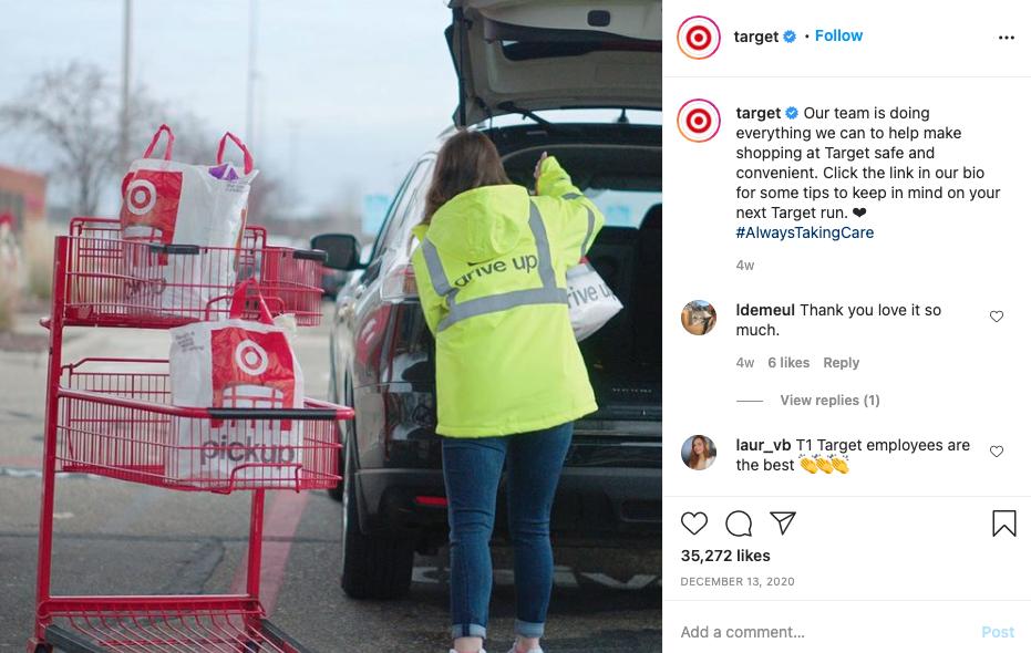screenshot of Target Instagram post