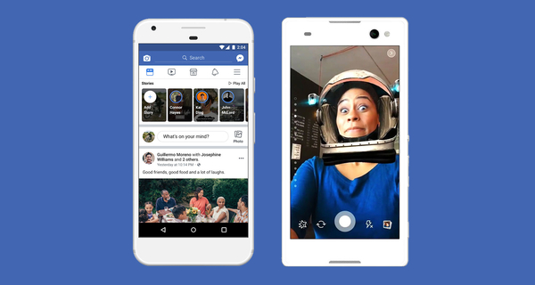 Two phones displaying the Facebook Stories interface