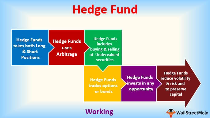 Infographic explaining the steps of a hedge fund