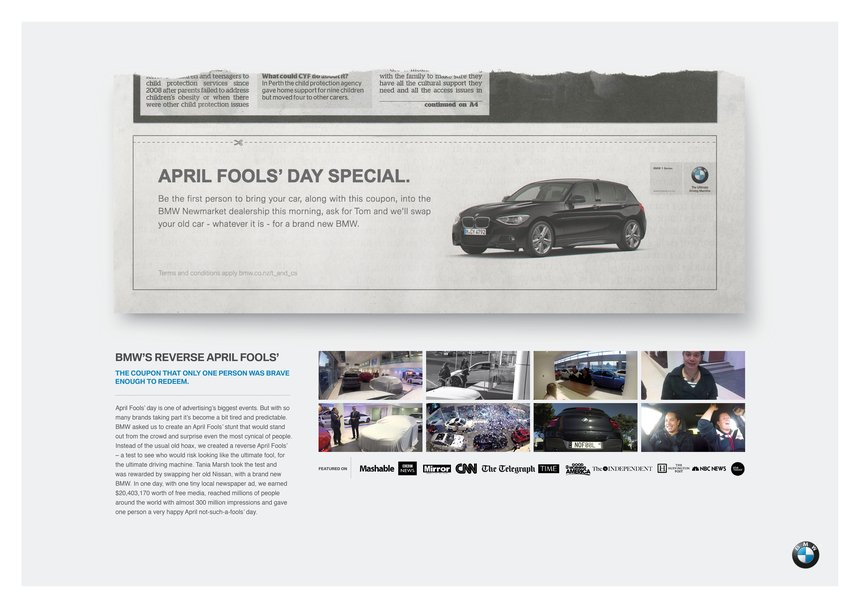 Clip from a New Zealand newspaper with BMW April Fools' Day coupon