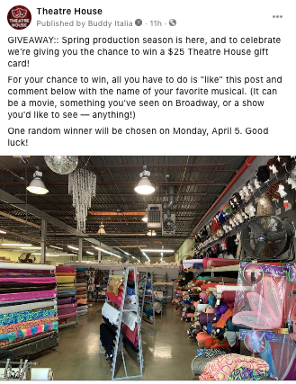 Screenshot of a post from Theatre House Facebook page inviting fans to participate in a giveaway