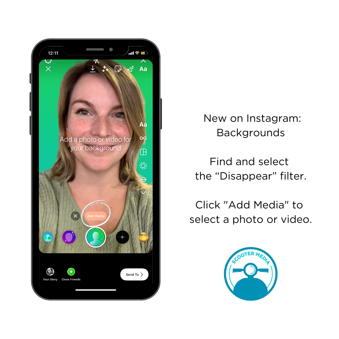 """iPhone screenshot of Instagram Stories with the Disappear filter selected and """"Add Media"""" circled in white"""