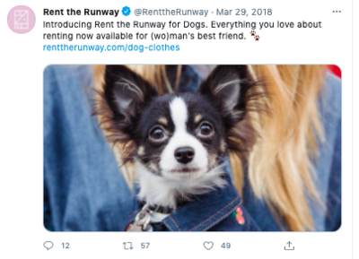Tweet promoting Rent the Runway's April Fools' Day campaign in 2018