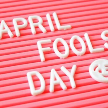 Pink board with Aprils Fools' Day lettering