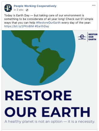 Social media post from People Working Cooperatively promoting Earth Day