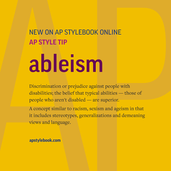 """Definition of """"ableism"""" on a yellow background"""