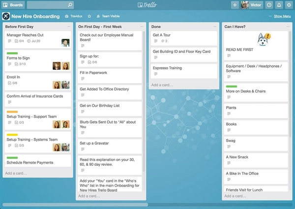 Screenshot from Trello showing several boards and cards
