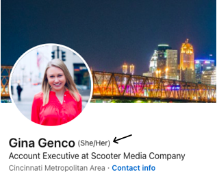 Screenshot of a LinkedIn profile header with pronouns added