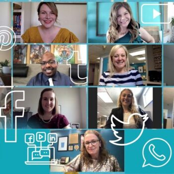 Collage of Scooter Media team members with white outlines of social media platform logos