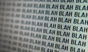 """Computer screen with the word """"blah"""" repeated"""